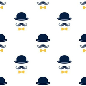 dapper trio - mustaches - yellow bowtie C18BS