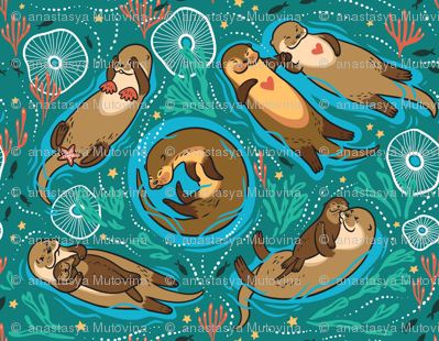 Otters in love_green