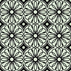 Spinning Daisy: Dusty Moss Green & Black Geometric Flowers