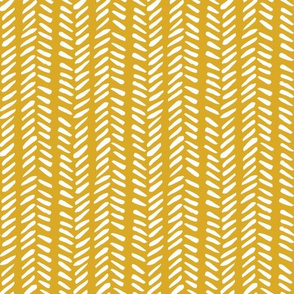 White Hand-Drawn Herringbone Pattern on Mustard Yellow Background, Medium Scale 10,5 x 10,5 in