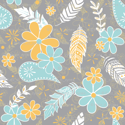 feathers flowers paislies turquoise gold gray