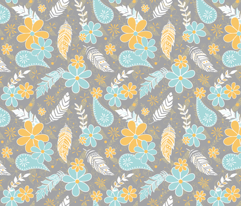 feathers flowers paislies turquoise gold gray fabric by katz_d_zynes on Spoonflower - custom fabric