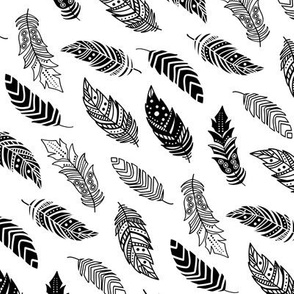 breezy feathers in black on white