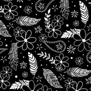 feathers flowers paislies doodle sketch white on black