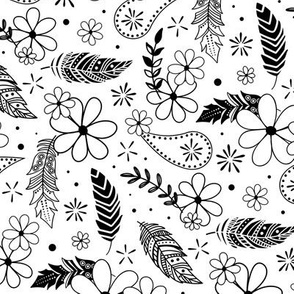 flowers feathers paislies doodle black and white