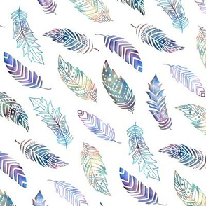 Colorful breezy feathers on white