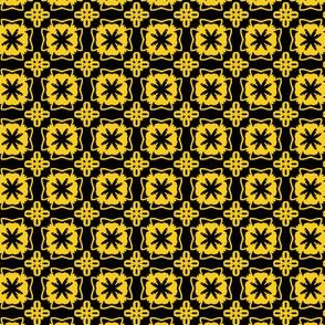 yellow black flower tiles