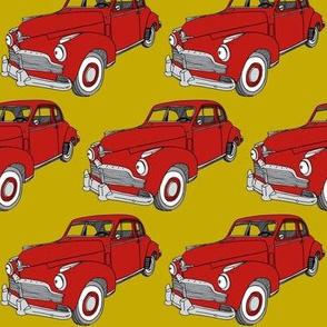 Red 1942 Studebaker 2 door sedan