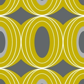 Chillout - Retro Geometric Midcentury Modern Citron Yellow & Grey Jumbo Scale