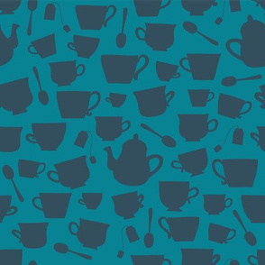 Teacup and Teapot Silhouettes- blue teal