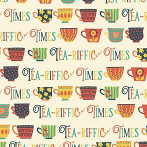 Tea-riffic Times. Retro inspired tea cups - beige