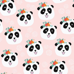 Panda Bears with Flowers