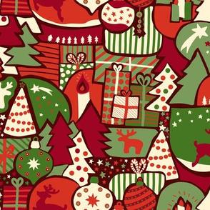 Moder Christmas Paper cut red, green, beige