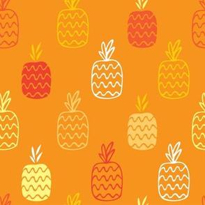 Pineapples background_orange