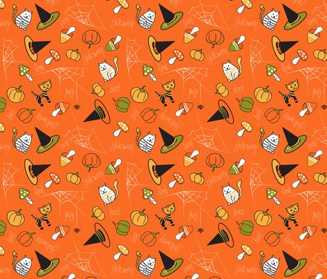 halloween_pattern_orange fabric by evgeniav on Spoonflower - custom fabric