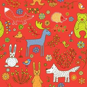 Animals_background red