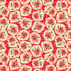 Poinsettia Floral Red
