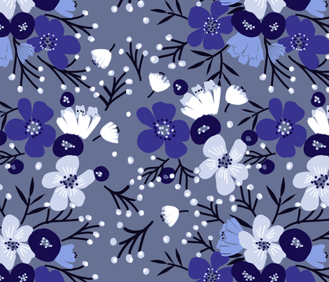 Nordic Steel Blue fabric by robynhammonddesign on Spoonflower - custom fabric