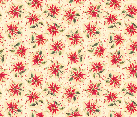 Poinsettia Floral Cream fabric by juliamonroe on Spoonflower - custom fabric