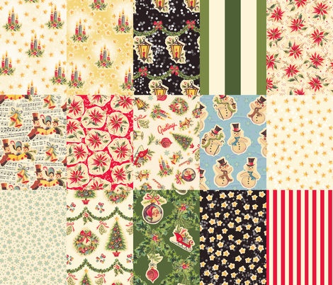 Retro Christmas Decals Collection 1 yard RCD fabric by juliamonroe on Spoonflower - custom fabric