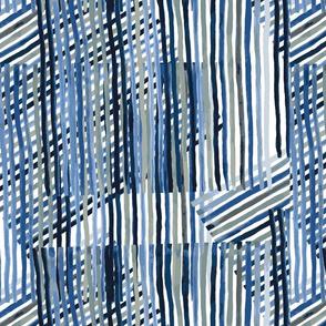 Blue Criss Cross Stripe