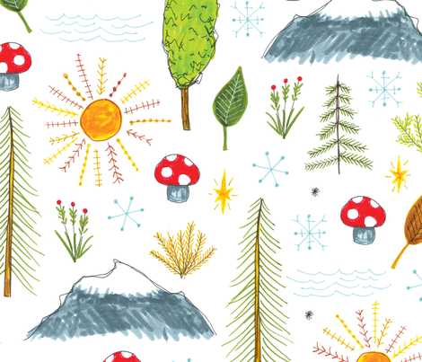 mountains and trees fabric by swoldham on Spoonflower - custom fabric