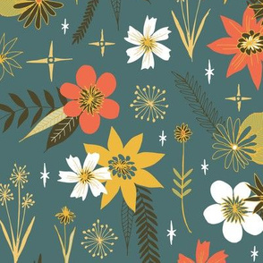 vintage floral on dark blue