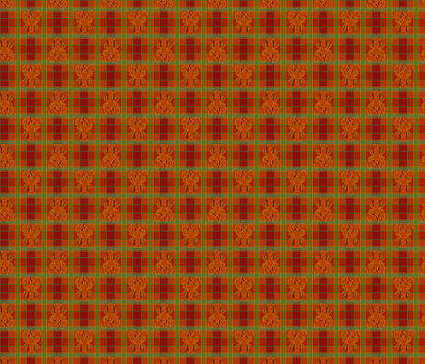 lobster red green gold plaid fabric by heretherebemonsters on Spoonflower - custom fabric
