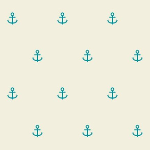 Nautical Minimalist Anchors in Coral and Seafoam v1