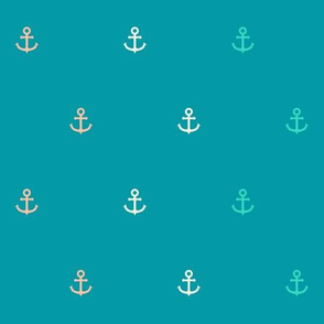 Nautical Minimalist Anchors in Coral and Seafoam v2