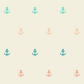 Nautical Minimalist Anchors in Coral and Seafoam v3