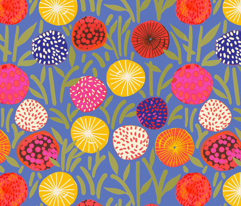 Bold Blooms on cornflower blue fabric by robynhammonddesign on Spoonflower - custom fabric