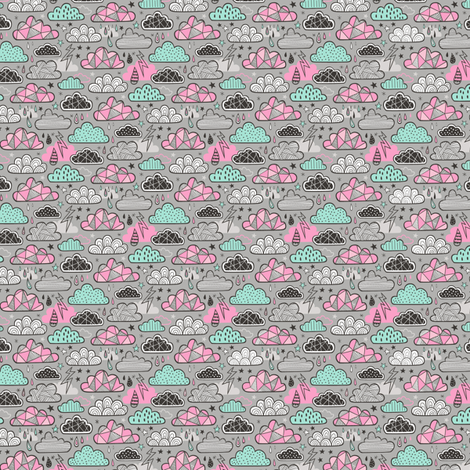 Clouds Bolts Lightning Raindrops Geometric Patterned Cloud Doodle Pink Mint Green on Grey Tiny Small  fabric by caja_design on Spoonflower - custom fabric