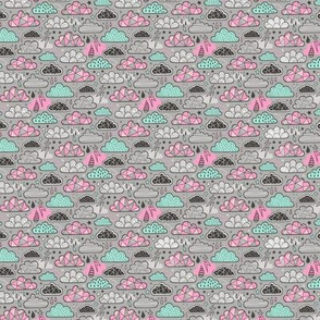 Clouds Bolts Lightning Raindrops Geometric Patterned Cloud Doodle Pink Mint Green on Grey Tiny Small