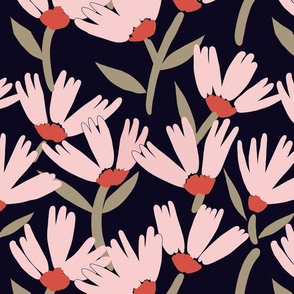 Daisy Days pink on black