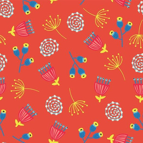 Fall Florals On Red Background