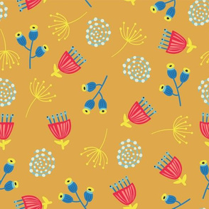Scandinavian Doodle Leaves Blue Red Gold
