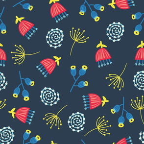 Blue Red Yellow Scattered Florals