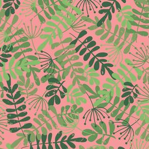 Green Foliage On Pink