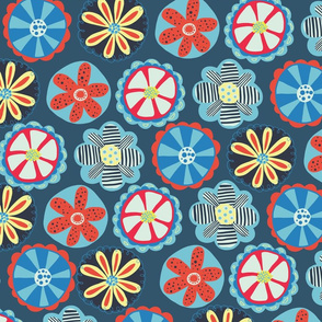 Scandinavian Doodle Flowers Red and Blue