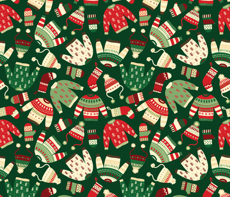 Ugly Christmas Fashion red green white fabric by sandra_hutter_designs on Spoonflower - custom fabric