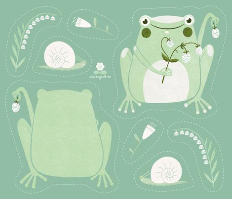 Cut & Sew | Strawberry Frog Plushie fabric by wideeyedtree on Spoonflower - custom fabric