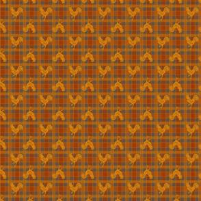 cock orange gray plaid