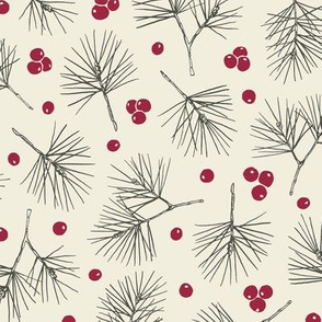 Christmas Pine Tree Twigs and Red Berries on Cream Background, Medium Scale 10,5 x 10,5 in