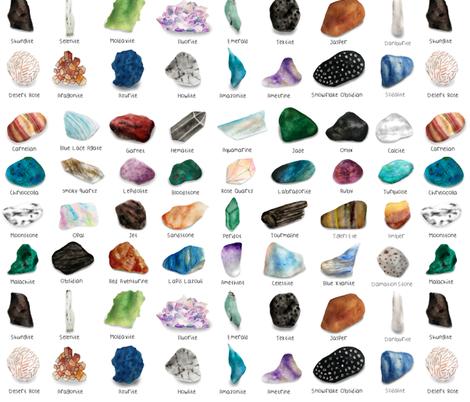 Watercolor Crystal Gemstones fabric by kgreenway on Spoonflower - custom fabric