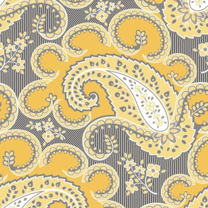 1810 Antique Paisley Grey Yellow p22