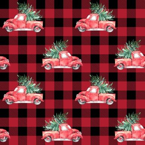 "4"" Christmas Vintage Trucks // Red Buffalo Check"
