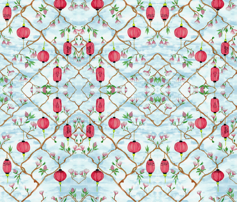 Chinoiserie fabric by coussin&claire on Spoonflower - custom fabric