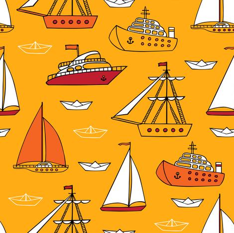 ships_pattern_yellow fabric by evgeniav on Spoonflower - custom fabric