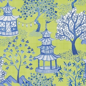 PAGODA FOREST Citron and Blue